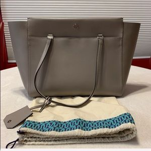 TORY BURCH Storm Gray Parker Leather Tote #37169